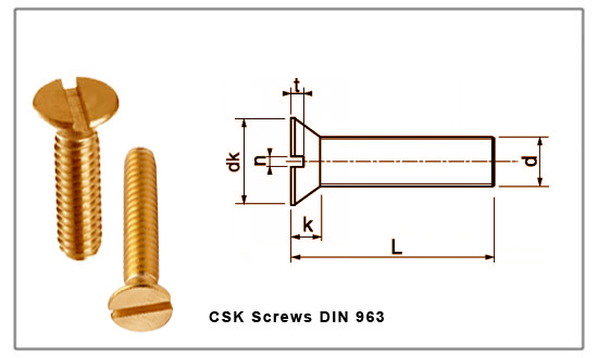 Din 963 Slotted Csk Screw