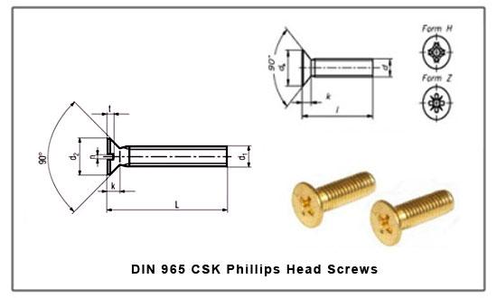 Din 965 Csk Pillips Head Screw