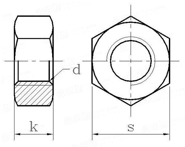 Uni 5587 Hex Thick Nut